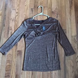NWT The Limited Brown shimmery quarter length top